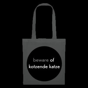 stofftasche, beware of kotzende katze, anthrazit - Stoffbeutel