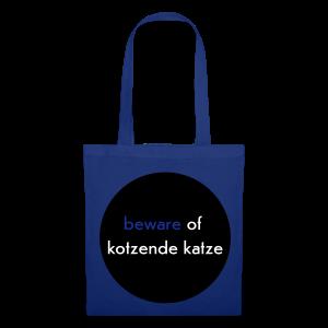 stofftasche, beware of kotzende katze, royalblau - Stoffbeutel