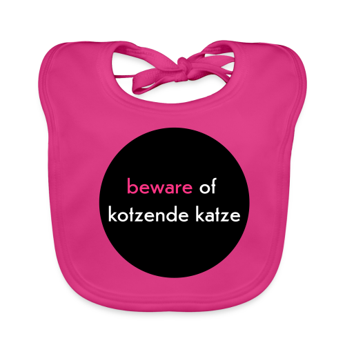 bio, katzen-lätzchen, beware of kotzende katze, pink - Baby Bio-Lätzchen