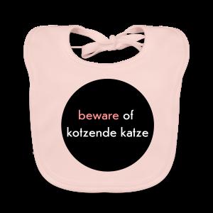 bio, katzen-lätzchen, beware of kotzende katze, rosa - Baby Bio-Lätzchen