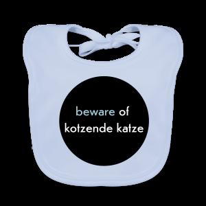 bio, katzen-lätzchen, beware of kotzende katze, hellblau - Baby Bio-Lätzchen