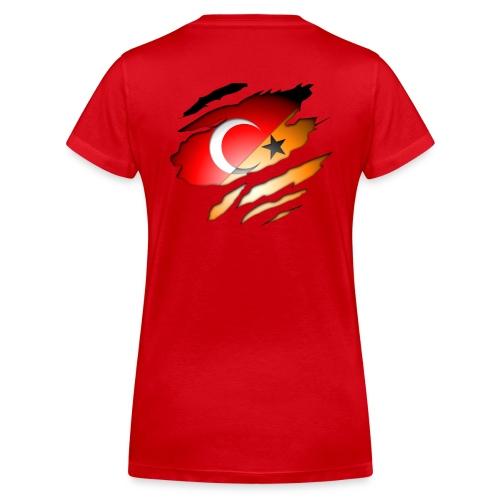 (V-Hals) Turk/Dutch Inside: Orange Achterkant - Vrouwen bio T-shirt met V-hals van Stanley & Stella