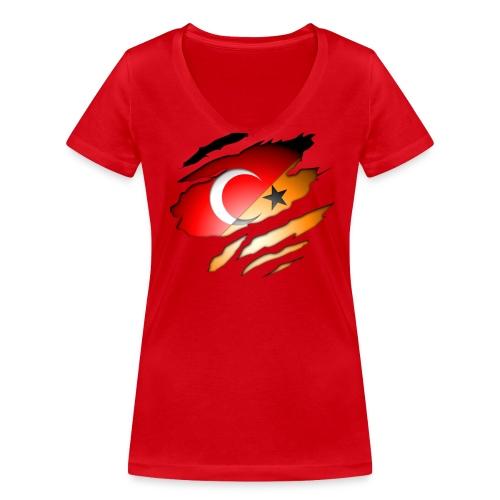 (V-Hals) Turk/Dutch Inside: Orange Voorkant - Vrouwen bio T-shirt met V-hals van Stanley & Stella