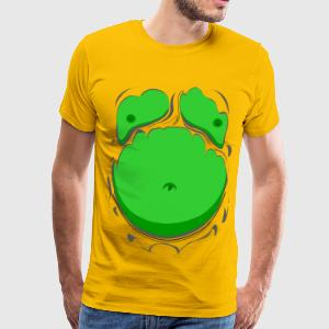 Comic Fat Belly Green, beer gut, beer belly, chest - Men's Premium T-Shirt