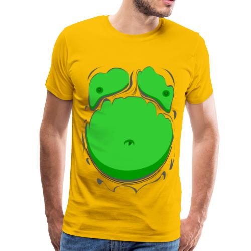 Comic Fat Belly Green, beer gut, beer belly, chest t-shirt - Men's Premium T-Shirt