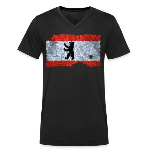 Berlin Flagge Shirt vintage used look - Männer Bio-T-Shirt mit V-Ausschnitt von Stanley & Stella