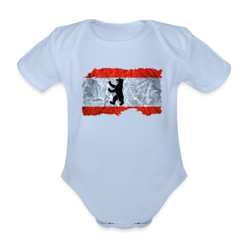 Berlin Flagge vintage shirt used look - Baby Bio-Kurzarm-Body