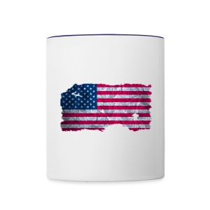 USA Flagge vintage used look - Tasse zweifarbig