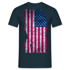 USA Flagge vintage used look - Männer T-Shirt