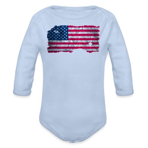 USA Flagge vintage used look - Baby Bio-Langarm-Body