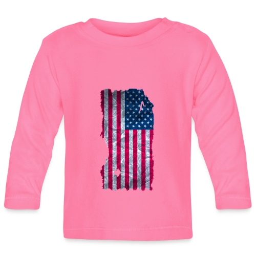 USA Flagge vintage used look - Baby Langarmshirt
