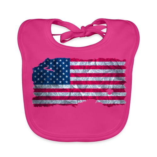 USA Flagge vintage used look - Baby Bio-Lätzchen