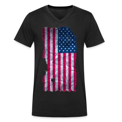 USA Flagge Langarmshirt vintage used look - Männer Bio-T-Shirt mit V-Ausschnitt von Stanley & Stella