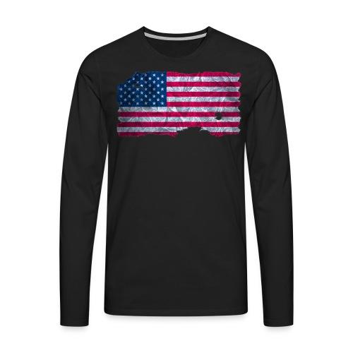 USA Flagge Langarmshirt vintage used look - Männer Premium Langarmshirt