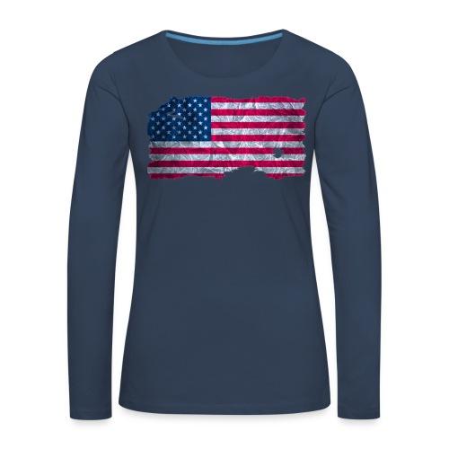 USA Flagge Langarmshirt vintage used look - Frauen Premium Langarmshirt