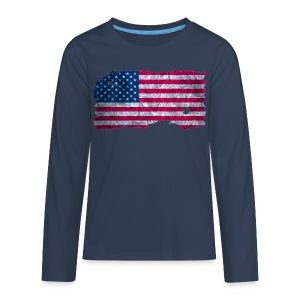 USA Flagge vintage used look - Teenager Premium Langarmshirt