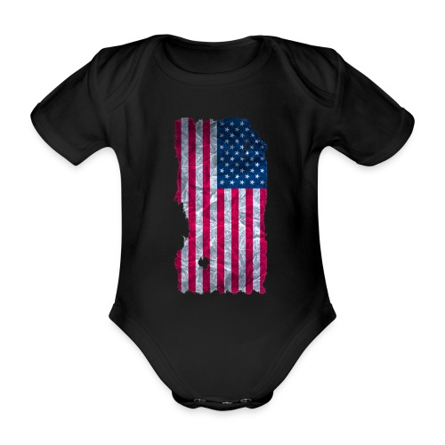 USA Flagge Babybody vintage used look - Baby Bio-Kurzarm-Body