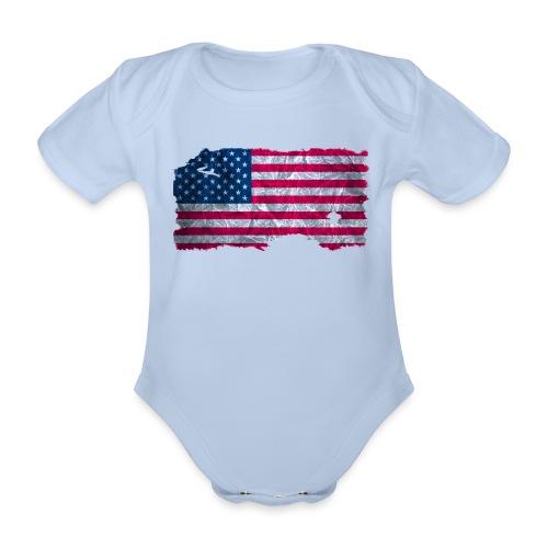 USA Flagge Babybody vintage used look - Baby Bio-Kurzarm-Body