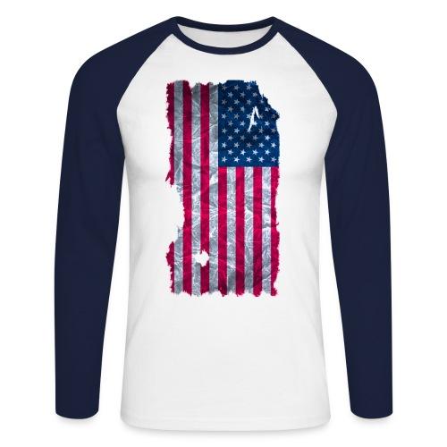 USA Flagge Langarmshirt vintage used look - Männer Baseballshirt langarm