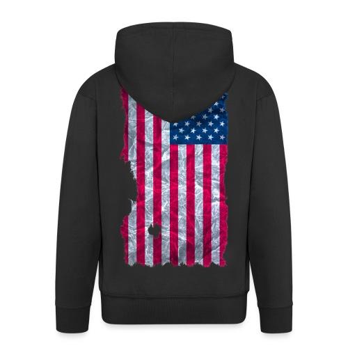 USA Flagge Kapuzenjacke vintage used look - Männer Premium Kapuzenjacke