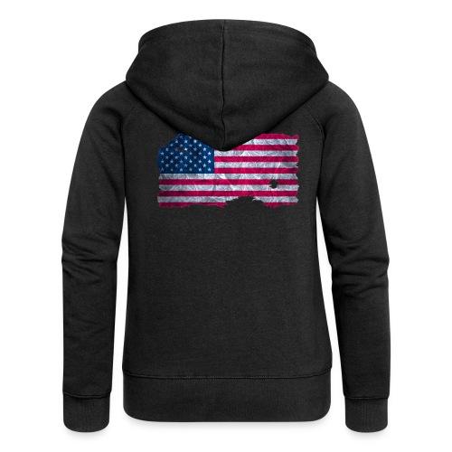 USA Flagge Kapuzenjacke vintage used look - Frauen Premium Kapuzenjacke