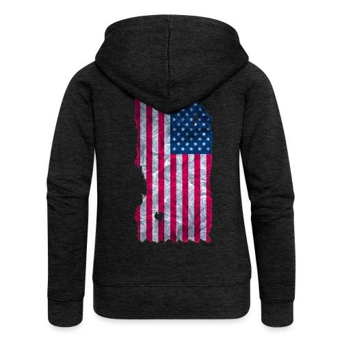 USA Flagge Kapuzenpullover vintage used look - Frauen Premium Kapuzenjacke