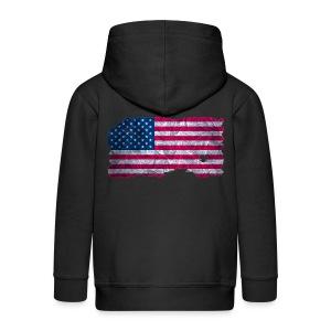 USA Flagge Kapuzenjacke vintage used look - Kinder Premium Kapuzenjacke