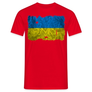 Ukraine Flagge Shirt vintage used look - Männer T-Shirt