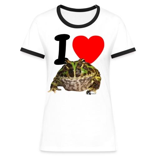 T-Shirt - I love Pacman Frogs (Retro-Kontrast-Style) - Frauen Kontrast-T-Shirt