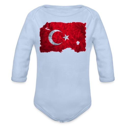 Türkei Flagge Babybody vintage used look - Baby Bio-Langarm-Body