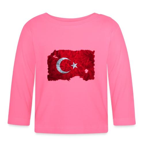 Türkei Flagge Babylangarmshirt vintage used look - Baby Langarmshirt