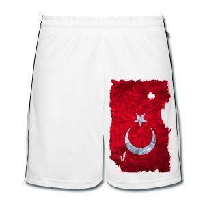 Türkei Flagge Fußball Shorts vintage used look - Männer Fußball-Shorts