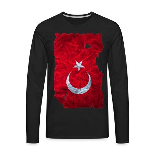 Türkei Flagge Langarmshirt vintage used look - Männer Premium Langarmshirt