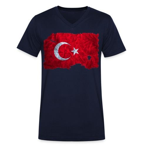 Türkei Flagge shirt vintage used look - Männer Bio-T-Shirt mit V-Ausschnitt von Stanley & Stella