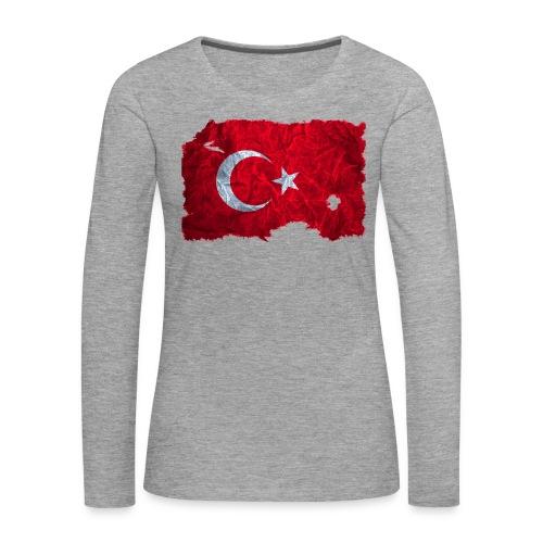 Türkei Flagge Langarmshirt vintage used look - Frauen Premium Langarmshirt