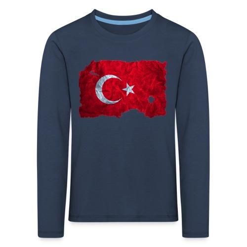 Türkei Flagge Langarmshirt vintage used look - Kinder Premium Langarmshirt