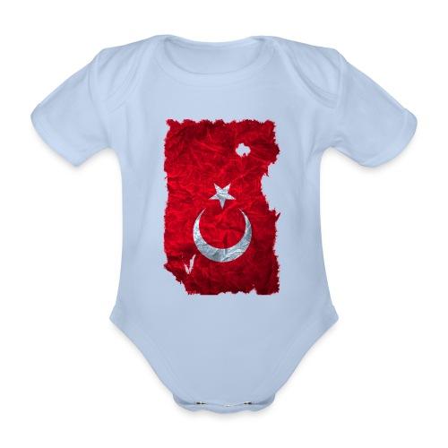 Türkei Flagge Babybody vintage used look - Baby Bio-Kurzarm-Body