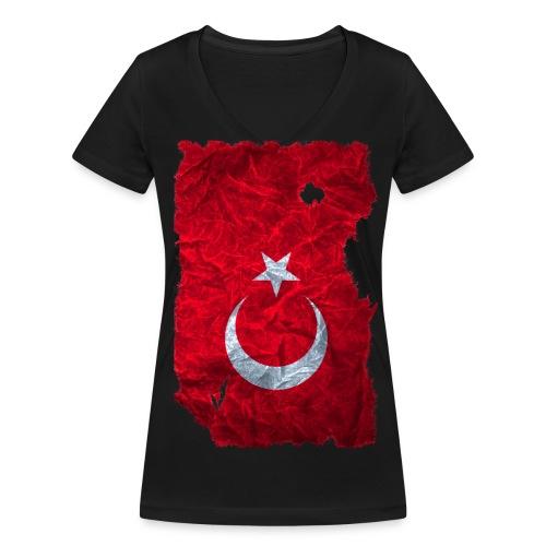 Türkei Flagge shirt vintage used look - Frauen Bio-T-Shirt mit V-Ausschnitt von Stanley & Stella