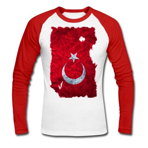 Türkei Flagge Langarmshirt vintage used look - Männer Baseballshirt langarm