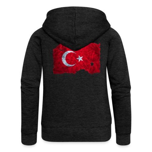 Türkei Flagge Kapuzenjacke vintage used look - Frauen Premium Kapuzenjacke