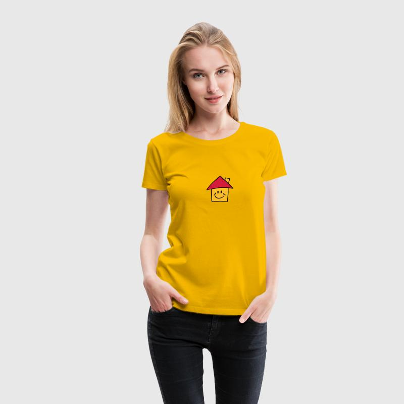 Lustiges Comic Smiley Haus T-Shirts - Frauen Premium T-Shirt