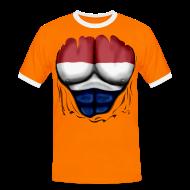 T-Shirts ~ Men's Ringer Shirt ~ Dutch Flag Ripped Muscles six pack chest t-shirt