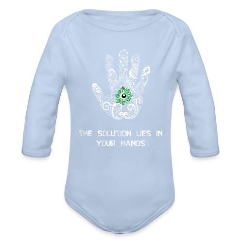 Solution in hand White - Organic Longsleeve Baby Bodysuit