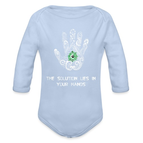 Solution in hand White - Organic Longsleeve Baby Bodysuit