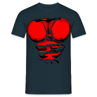 T-Shirts ~ Men's T-Shirt ~ Ripped Muscles Red, six pack, chest t-shirt