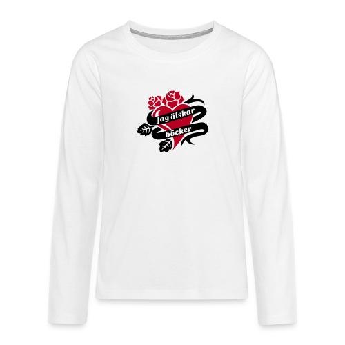 JAG ÄLSKAR BÖCKER! - Långärmad premium T-shirt tonåring