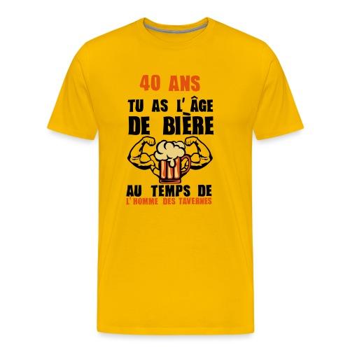 tee shirt 40 ans age de biere tee shirt anniversaire humour alcool de 18 20 25 30 35 40. Black Bedroom Furniture Sets. Home Design Ideas
