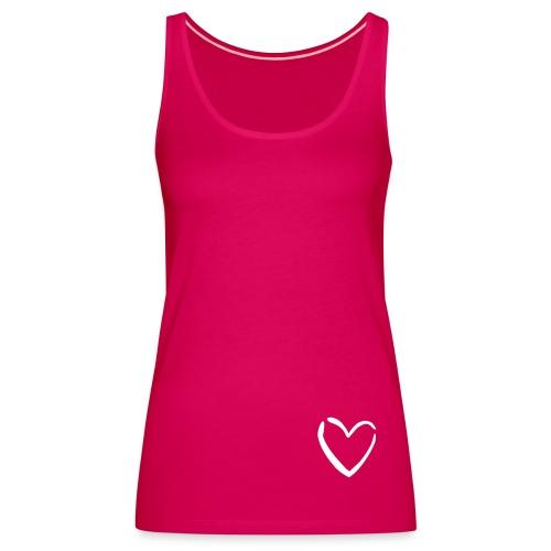Vrouwen Premium tank top - een roze top met rechtsonder een hart