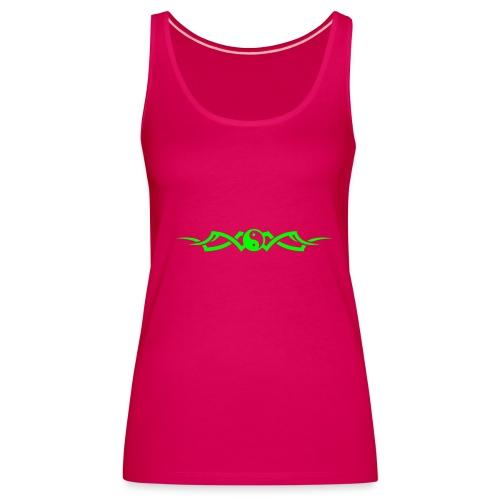 Débardeur Premium Femme - Texte dos ma tribu est peace and love avec motif devant le tout vert fluo avec texte personnalisable