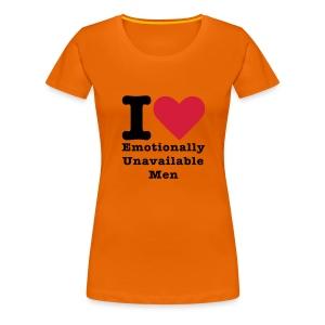 i love emotionally unafaible man oranje Rocket in my Pocket (girls) - Vrouwen Premium T-shirt